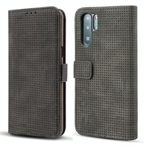 Mesh Breathable Horizontal Flip Leather Case for Huawei P30 Pro, with Card Slot & Holder & Wallet & Photo Frame (Black)