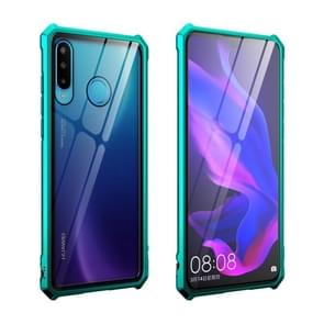 Buckle Series Metal Frame + Tempered Glass Protective Case for Huawei P30 lite / nova 4e(Green)