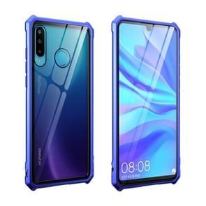 Buckle Series Metal Frame + Tempered Glass Protective Case for Huawei P30 lite / nova 4e(Blue-Purple)