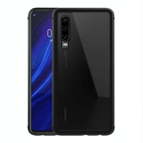 LOVE MEI Shockproof Metal Frame+TPU+Back Tempered Glass Case for Huawei P30 (Black)