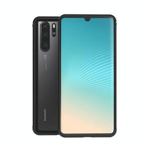 LOVE MEI Shockproof Metal Frame+TPU+Back Tempered Glass Case for Huawei P30 Pro(Black)