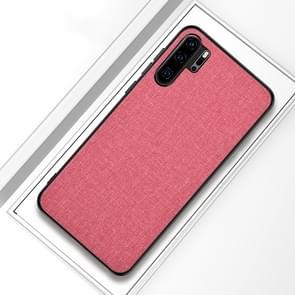 Schokbestendige doek textuur PC + TPU beschermhoes voor Huawei P30 Pro (roze)