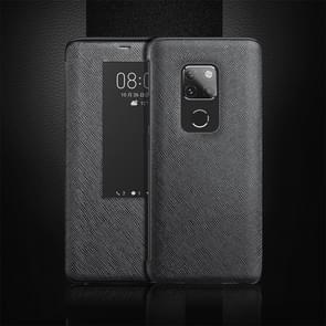 Cross Texture Horizontal Flip Leather Case for Huawei Mate 20, with Call Answering Function & Sleep / Wake-up (Black)