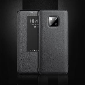 Cross Texture Horizontal Flip Leather Case for Huawei Mate 20 Pro, with Call Answering Function & Sleep / Wake-up (Black)