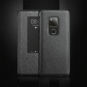 Cross Texture Horizontal Flip Leather Case for Huawei Mate 20 X, with Call Answering Function & Sleep / Wake-up (Black)