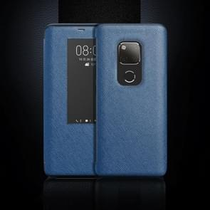 Cross Texture Horizontal Flip Leather Case for Huawei Mate 20 X, with Call Answering Function & Sleep / Wake-up (Blue)
