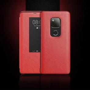 Cross Texture Horizontal Flip Leather Case for Huawei Mate 20 X, with Call Answering Function & Sleep / Wake-up (Red)