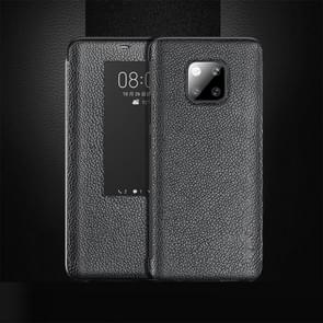 Top-grain Horizontal Flip Leather Case for Huawei Mate 20 Pro, with Call Answering Function & Sleep / Wake-up (Black)