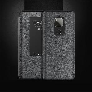 Top-Grain horizontale Flip lederen draagtas voor Huawei mate 20 X  met oproep antwoordende functie & slaap/Wake-up (zwart)