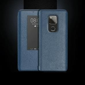 Top-grain Horizontal Flip Leather Case for Huawei Mate 20 X, with Call Answering Function & Sleep / Wake-up (Blue)