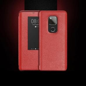 Top-grain Horizontal Flip Leather Case for Huawei Mate 20 X, with Call Answering Function & Sleep / Wake-up (Red)