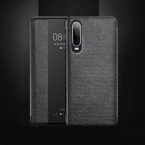 Top-grain Horizontal Flip Leather Case for Huawei P30, with Call Answering Function & Sleep / Wake-up (Black)