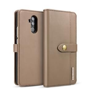 DG.MING Lambskin Detachable Horizontal Flip Magnetic Case for Huawei Mate 20 Lite / Maimang 7, with Holder & Card Slots & Wallet (Brown)