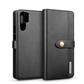 DG.MING Lambskin Detachable Horizontal Flip Magnetic Case for Huawei P30 Pro, with Holder & Card Slots & Wallet (Black)
