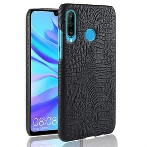 Shockproof Crocodile Texture PC + PU Protective Case for Huawei P30 Lite (Black)