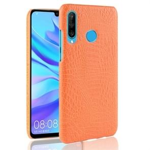Shockproof Crocodile Texture PC + PU Protective Case for Huawei P30 Lite (Yellow)