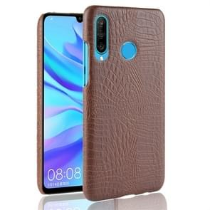 Shockproof Crocodile Texture PC + PU Protective Case for Huawei P30 Lite (Brown)