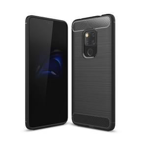 Brushed Texture Carbon Fiber Shockproof TPU Case for Huawei Mate 20 (Black)