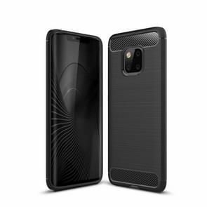 Brushed Texture Carbon Fiber Shockproof TPU Case for Huawei Mate 20 Pro (Black)