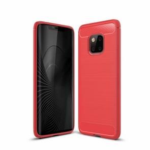 Geborsteld textuur Carbon Fiber schokbestendig TPU Case voor Huawei mate 20 Pro (rood)