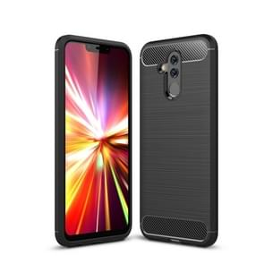 Brushed Texture Carbon Fiber Shockproof TPU Case for Huawei Mate 20 Lite (Black)