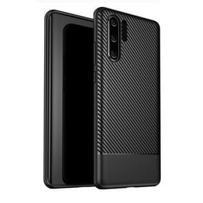 Lewei Series Carbon Fiber Texture TPU Protective Case for Huawei P30 Pro (Black)