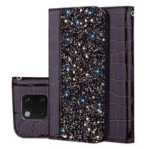 Krokodil textuur Glitter poeder horizontale Flip leren Case voor Huawei Mate 20 Pro  met kaartsleuven & houder (zwart)