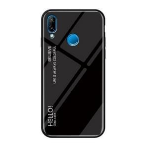 Gradient Color Glass Case for Huawei nova 3i / P Smart+ (Black)