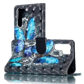 3D Blue Diamond Butterflies Pattern Horizontal Flip PU Leather Case for Huawei P30 Pro, with Holder & Card Slots & Wallet & Photo Frame