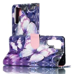 3D Purple Butterflies Pattern Horizontal Flip PU Leather Case for Huawei P30 Pro, with Holder & Card Slots & Wallet & Photo Frame