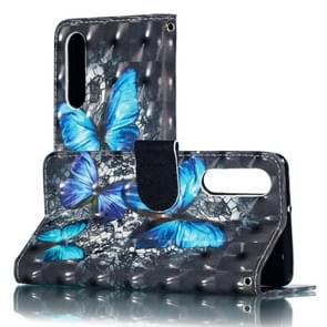 3D Blue Diamond Butterflies Pattern Horizontal Flip PU Leather Case for Huawei P30, with Holder & Card Slots & Wallet & Photo Frame