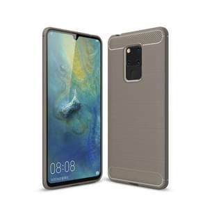 Geborsteld textuur koolstofvezel zachte TPU Case voor Huawei mate 20 X (grijs)