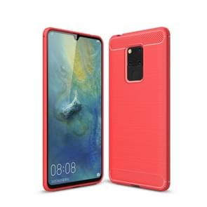 Brushed Texture Carbon Fiber Soft TPU Case for Huawei Mate 20 X(Red)