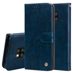 Business Style Oil Wax Texture Horizontal Flip Leather Case for Huawei Mate 20 Pro, with Holder & Card Slots & Wallet (Blue)