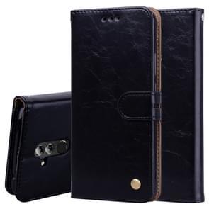 Zakelijke stijl olie Wax textuur horizontale Flip lederen Case voor Huawei Mate 20 Lite  met houder & kaartsleuven & portemonnee (zwart)