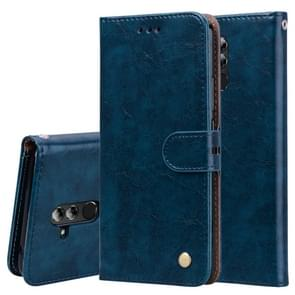 Business Style Oil Wax Texture Horizontal Flip Leather Case for Huawei Mate 20 Lite, with Holder & Card Slots & Wallet (Blue)