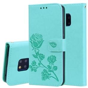 Rose reliëf horizontale Flip PU lederen draagtas voor Huawei Mate 20 Pro  met houder & kaartsleuven & portemonnee (groen)
