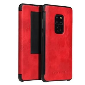Fierre Shann Crazy Horse Texture Horizontal Flip PU Leather Case for Huawei Mate 20, with Smart View Window & Sleep Wake-up Function (Red)