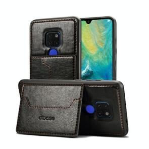 Dibase TPU + PC + PU Crazy Horse Texture Protective Case for Huawei Mate 20  with Holder & Card Slots (Black)