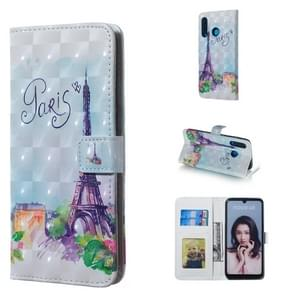 Tower Pattern 3D Horizontal Flip Leather Case for Huawei P30 Lite, with Holder & Card Slots & Photo Frame & Wallet