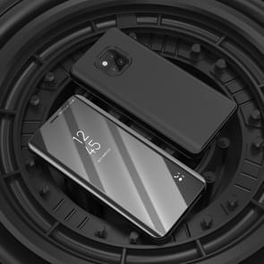Spiegel duidelijk beeld horizontaal flip PU slimme lederen Case voor Huawei Mate 20 Pro  met houder (zwart)