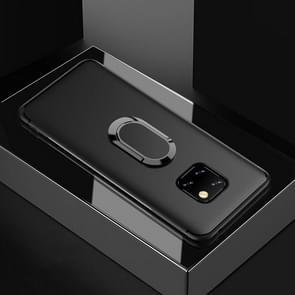 Schokbestendige TPU volledige beschermhoes voor Huawei mate 20 Pro  met 360 graden rotatie houder (zwart)