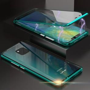 Ultra Slim Double Sides Magnetic Adsorption Angular Frame Tempered Glass Magnet Flip Case for Huawei Mate 20 Pro (Green)