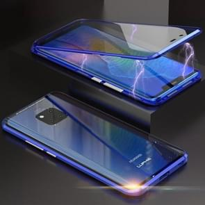 Ultra Slim Double Sides Magnetic Adsorption Angular Frame Tempered Glass Magnet Flip Case for Huawei Mate 20 Pro (Blue)
