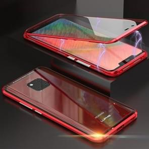 Ultra Slim Double Sides Magnetic Adsorption Angular Frame Tempered Glass Magnet Flip Case for Huawei Mate 20 Pro (Red)