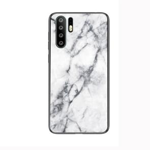 Marble Glass Protective Case for Huawei P30 Pro(White)