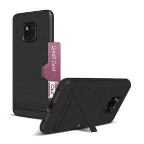 Ultra-thin TPU+PC Brushed Texture King Shockproof Protective Case for Huawei Mate 20 Pro, with Holder & Card Slot(Black)