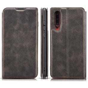 Retro Simple Ultra-thin Magnetic Horizontal Flip Leather Case for Huawei P30, with Holder & Card Slots & Lanyard (Black)