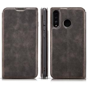 Retro Simple Ultra-thin Magnetic Horizontal Flip Leather Case for Huawei P30 Lite / Nova 4e, with Holder & Card Slots & Lanyard (Black)