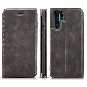 Retro Simple Ultra-thin Magnetic Horizontal Flip Leather Case for Huawei P30 Pro, with Holder & Card Slots & Lanyard (Black)